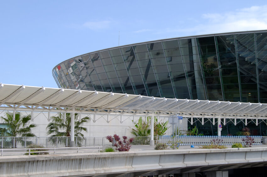 New terminal building at Nice Cote d'Azur Airport. Provence. France